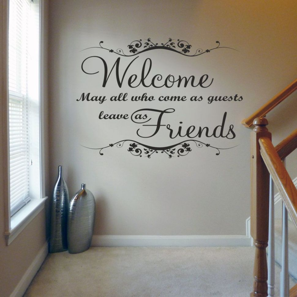 Welcome May all Who Come v9 - Wall Decal Sticker Quote lounge ...