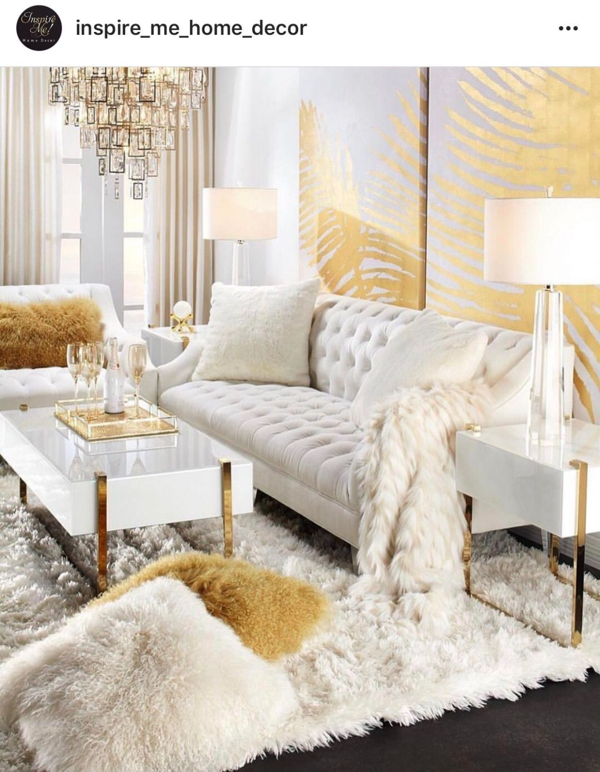 White and Gold (With images) | Glam living room decor, Luxury ..