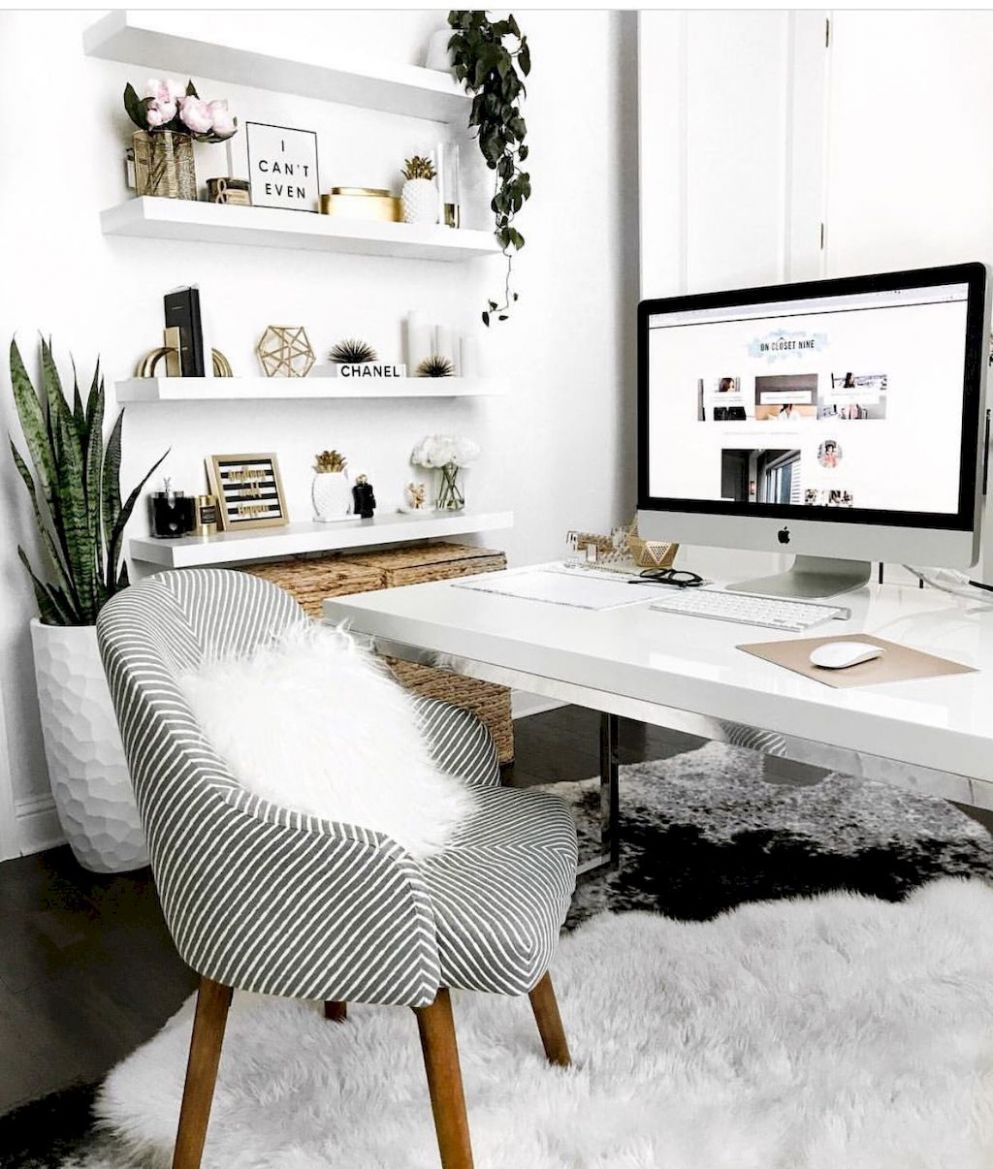 White Desk Designs for Minimalist Home Office | Cozy home office ..