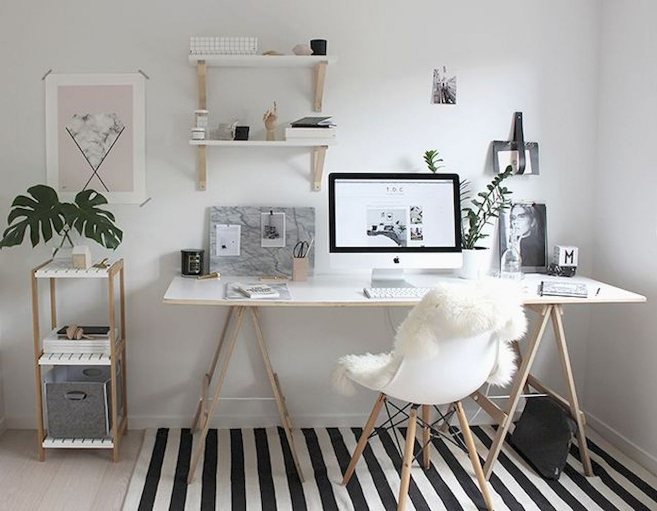 White Desk Designs for Minimalist Home Office - Elonahome