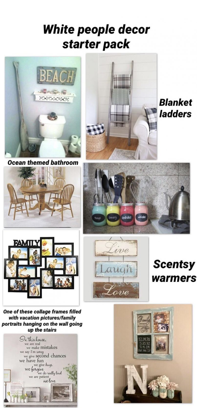 White people house decor starter pack