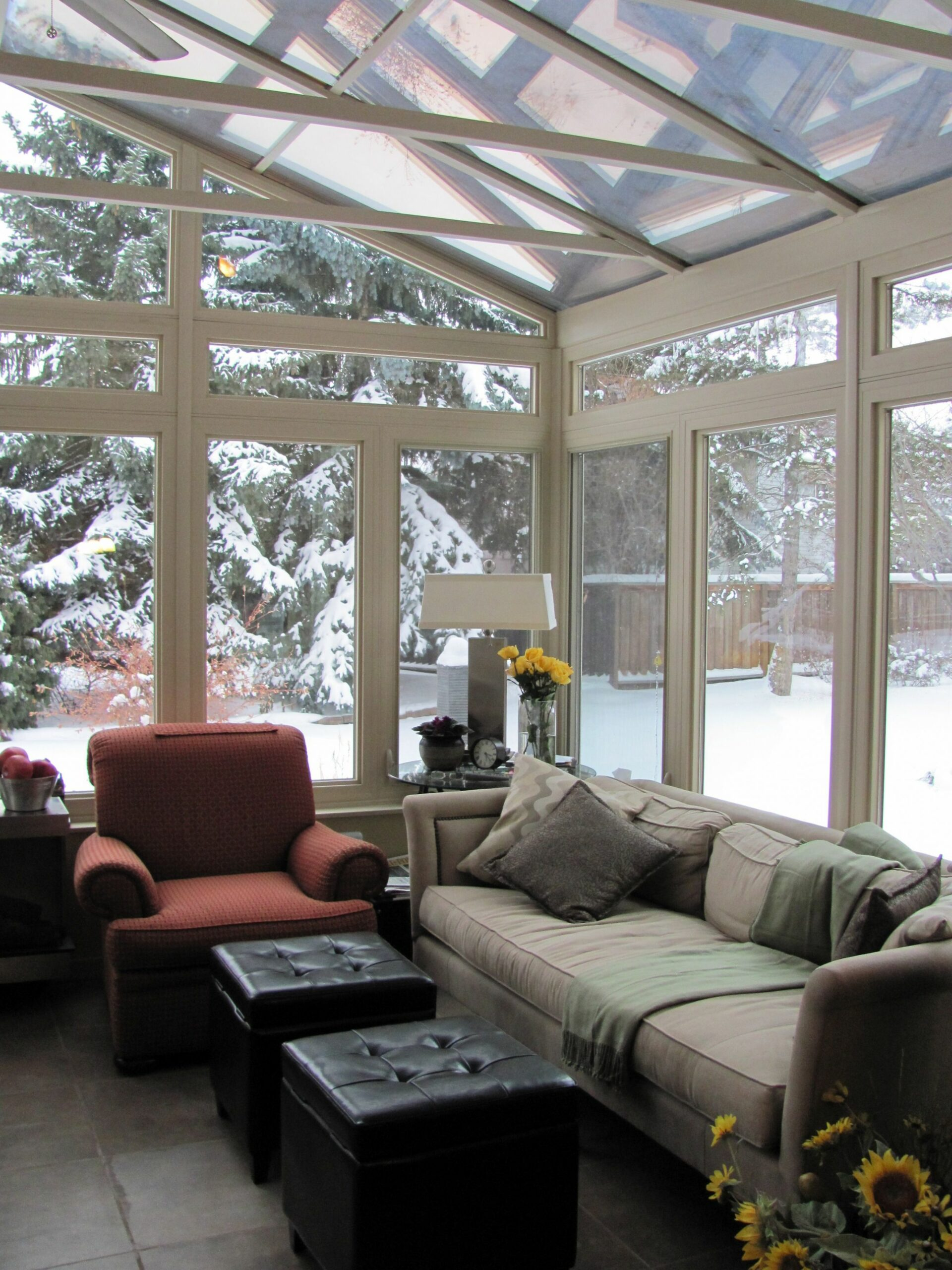 Winter sunroom all cozy. Glass roof cathedral in Alberta (With ...