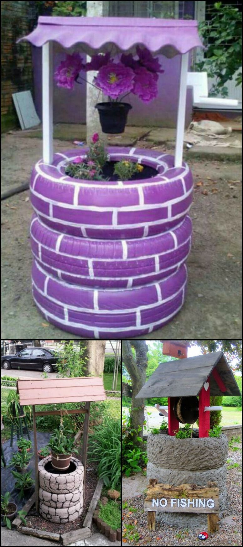 Wishing well planter made from recycled tires (With images) | Diy ...