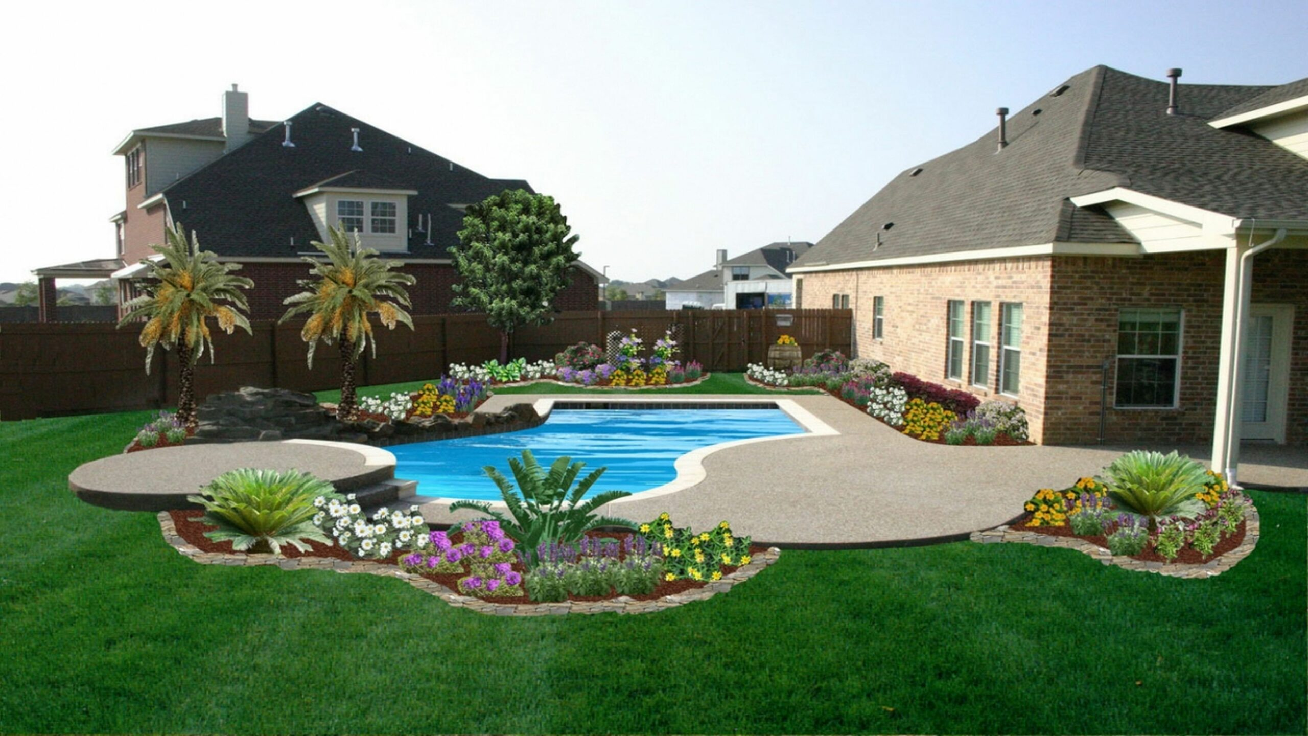 Wonderful Pool Landscaping On A Budget Ideas Small Backyard Above ..