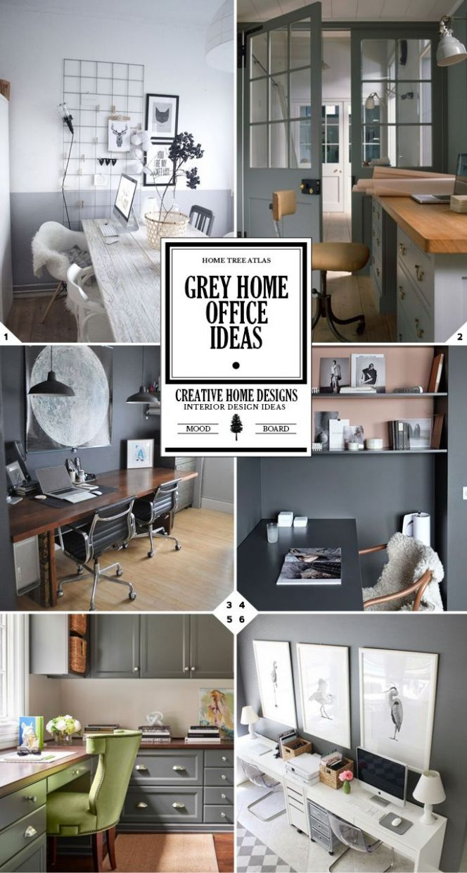 Work in Style: Grey Home Office Ideas (With images)   Gray home ...