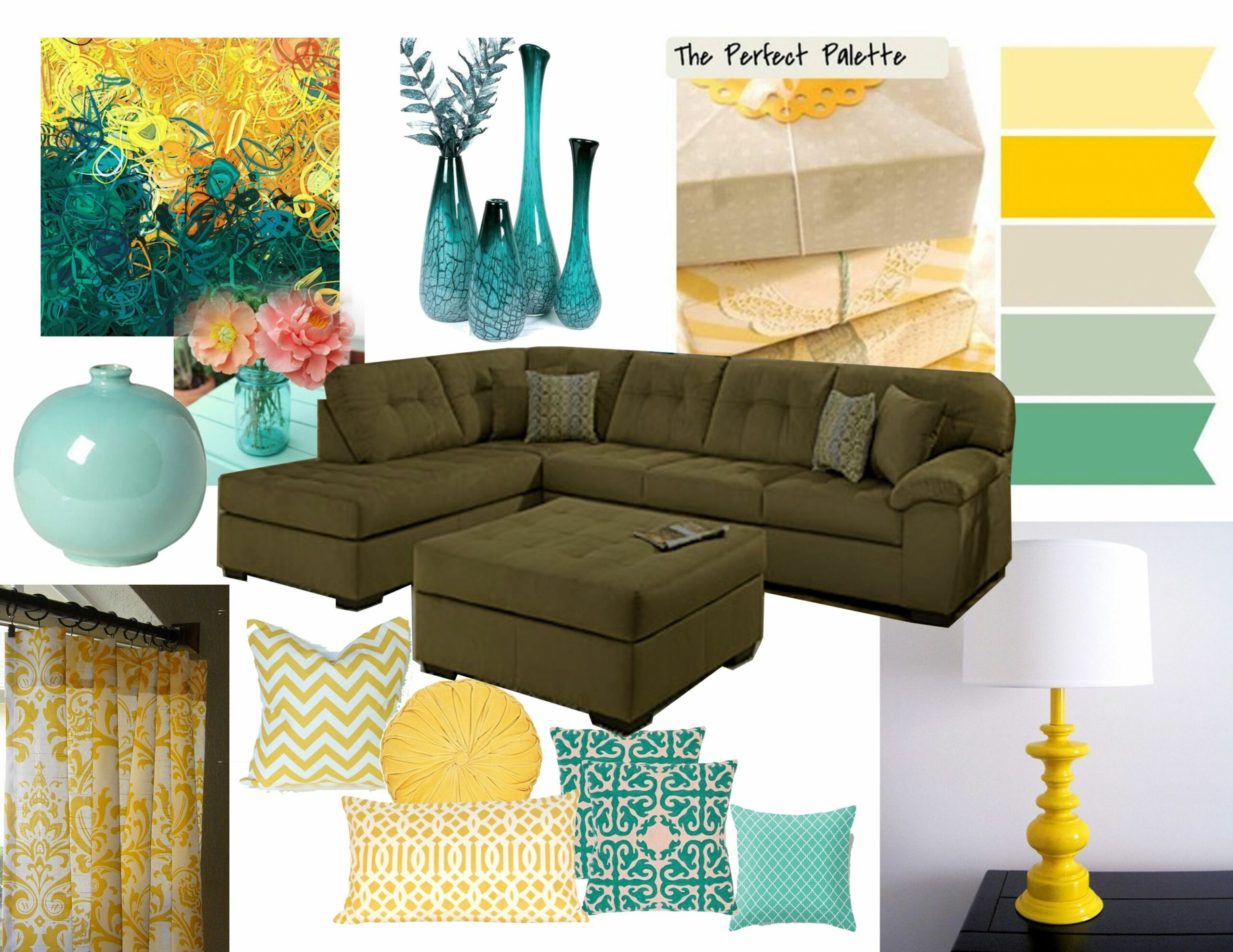 yellow room color scheme | Mustard living rooms, Teal living rooms ..