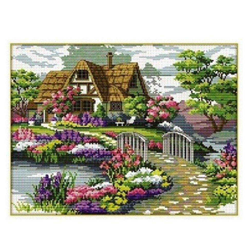 Yontree DIY Handmade Countryside Flower Stamped Cross Stitch Kit Embroidery  Kit Home Decor - diy home decor embroidery